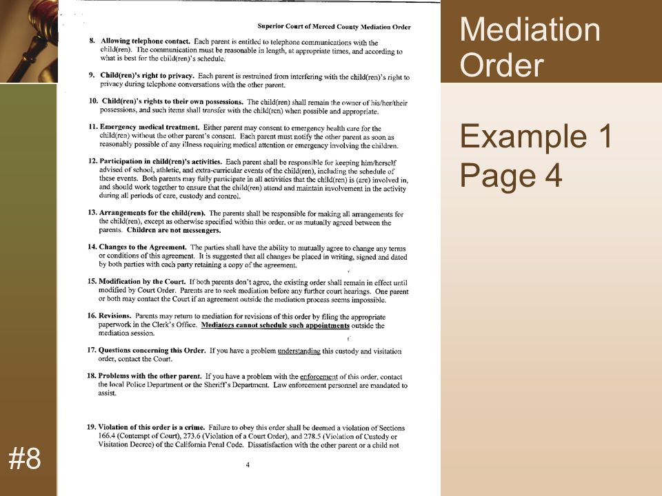#8 Mediation Order Example 1 Page 4