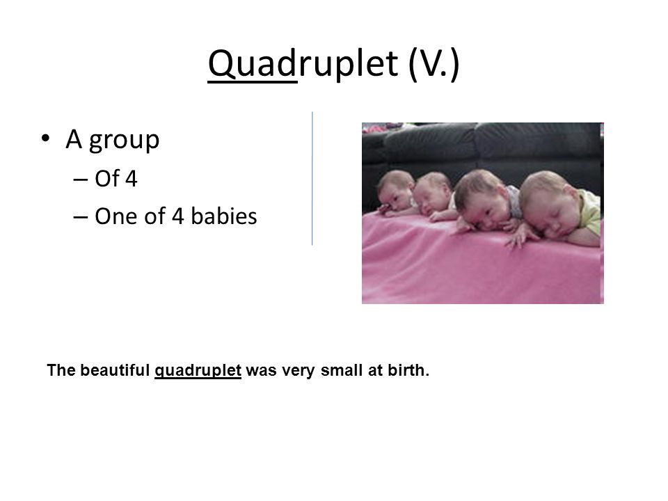 Quadruplet (V.) A group – Of 4 – One of 4 babies The beautiful quadruplet was very small at birth.