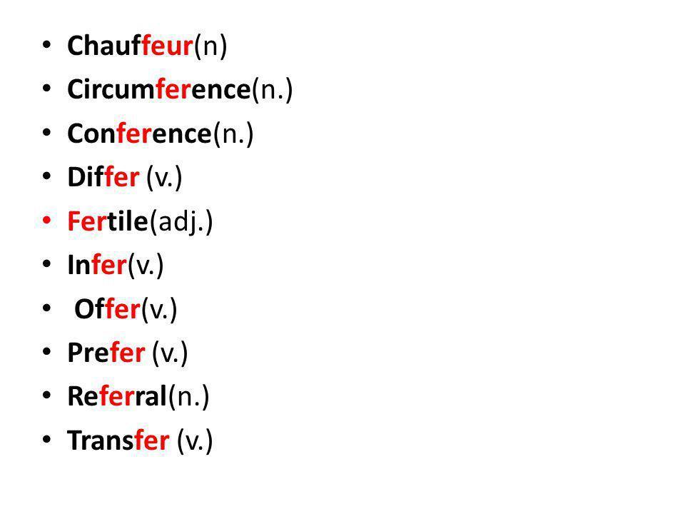 Chauffeur(n) Circumference(n.) Conference(n.) Differ (v.) Fertile(adj.) Infer(v.) Offer(v.) Prefer (v.) Referral(n.) Transfer (v.)