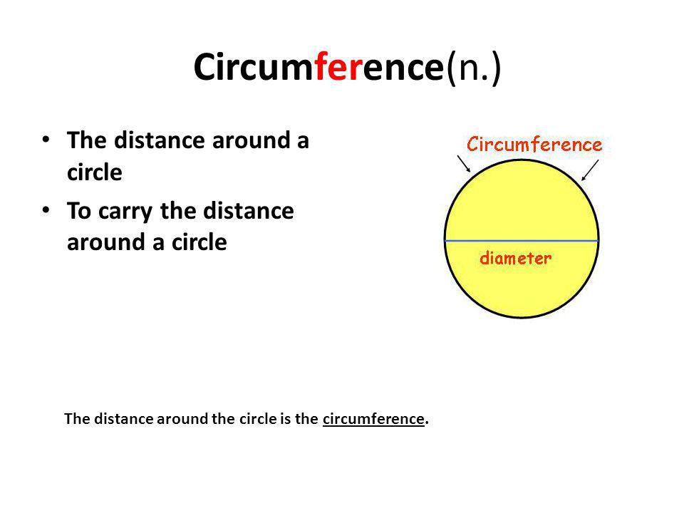 Circumference(n.) The distance around a circle To carry the distance around a circle The distance around the circle is the circumference.