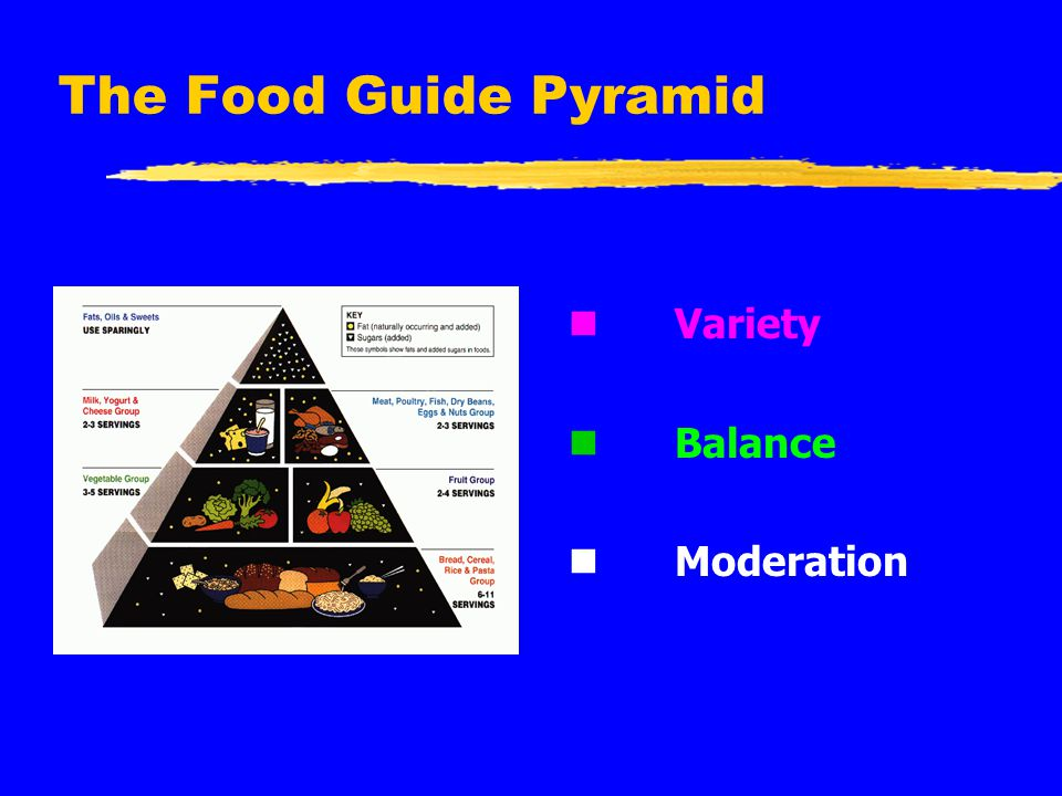 The Food Guide Pyramid n Variety n Balance n Moderation