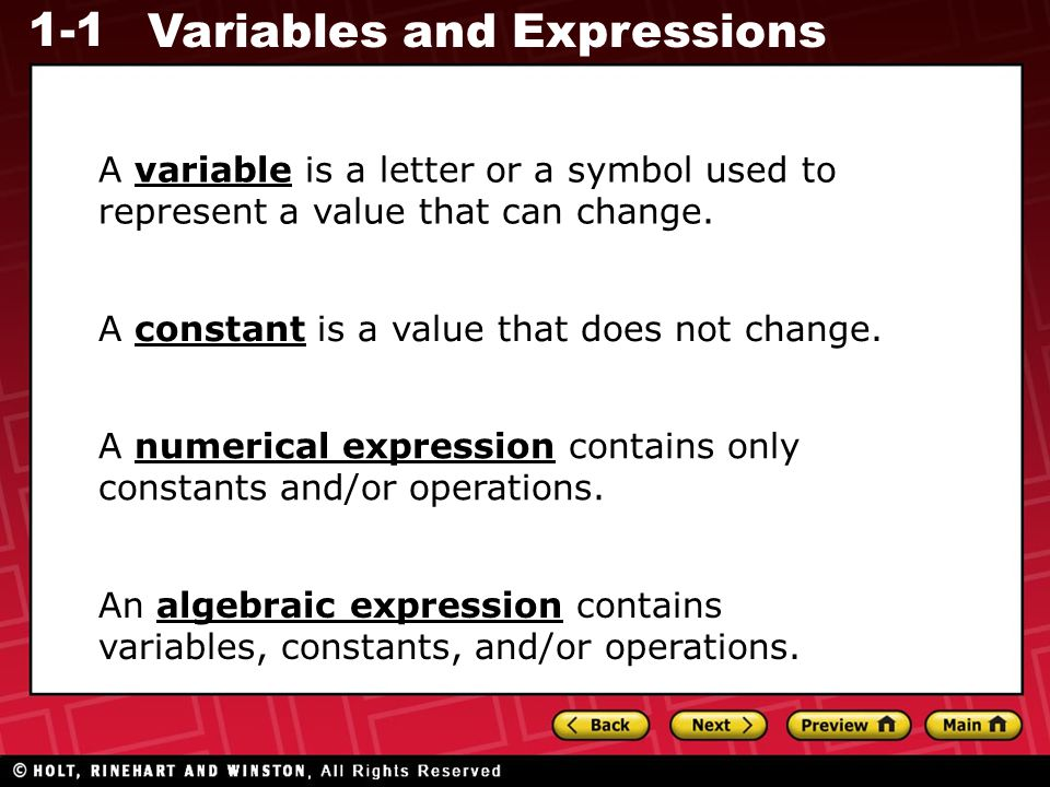 1-1 Variables and Expressions Give two ways to write each algebraic expression in words.