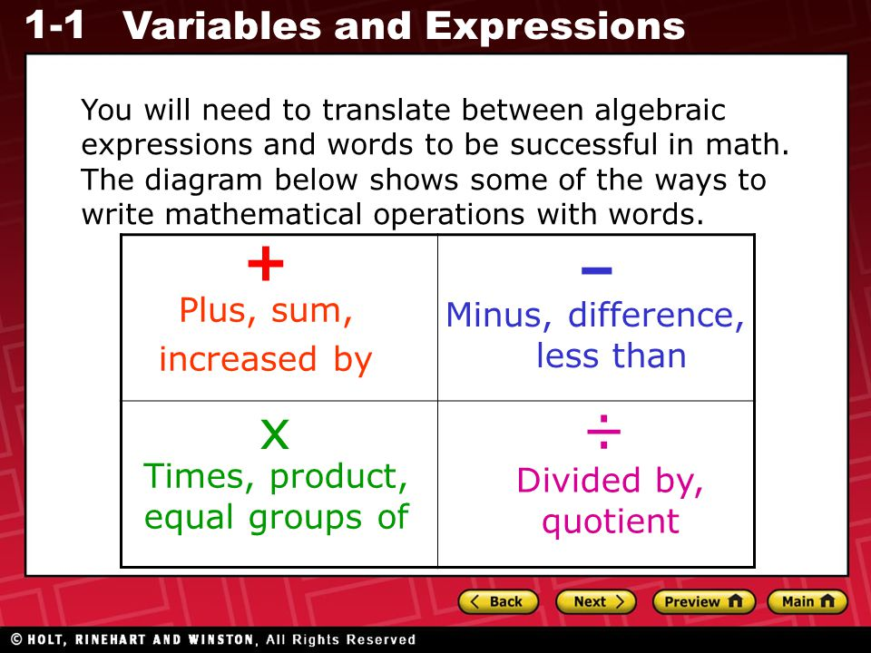 1-1 Variables and Expressions You will need to translate between algebraic expressions and words to be successful in math. The diagram below shows som