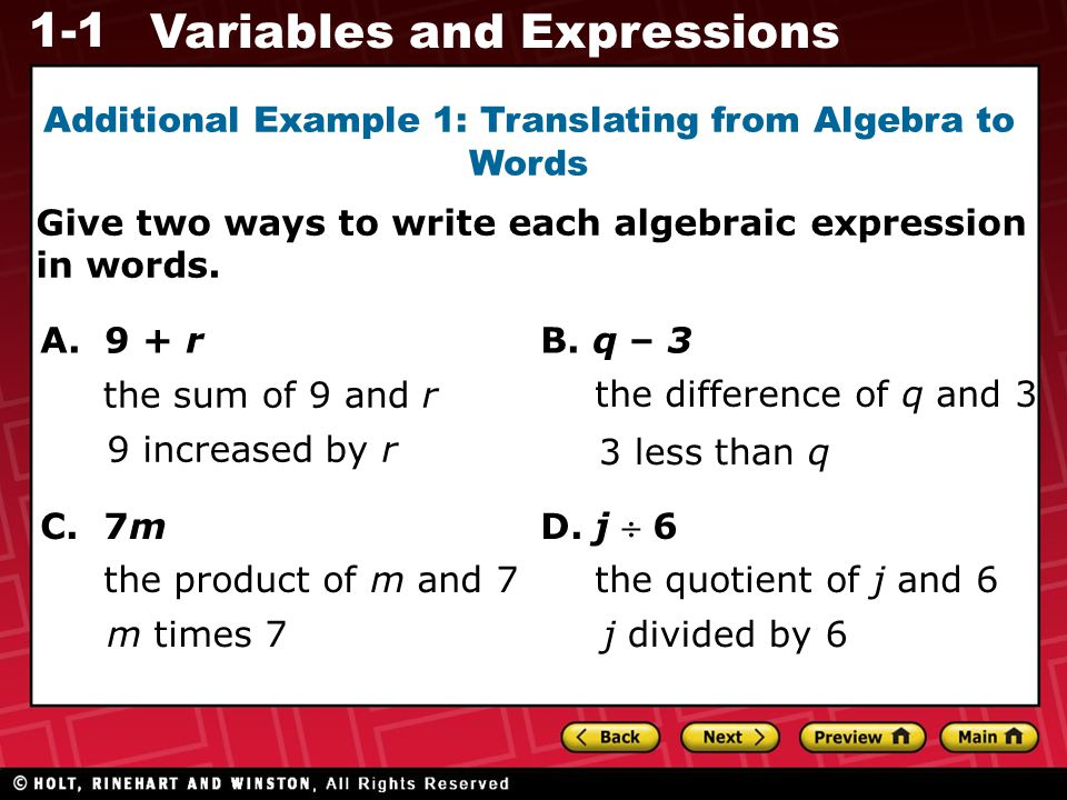 1-1 Variables and Expressions 1a.4 – n 1b. 1c. 9 + q 1d.