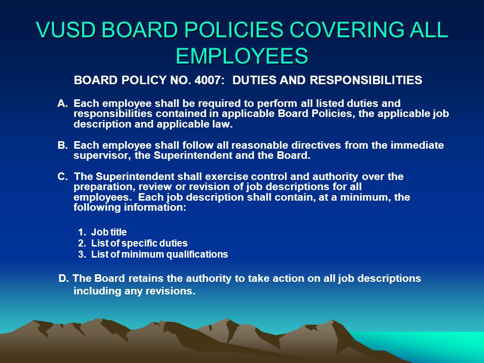 VUSD BOARD POLICIES COVERING ALL EMPLOYEES BOARD POLICY NO.