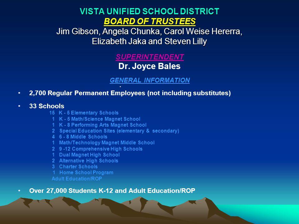 VISTA UNIFIED SCHOOL DISTRICT DEPARTMENTS – ASC & NORTH AVENUE DEPARTMENTS – ADMINISTRATIVE SERVICES CENTER (ASC) ASST.