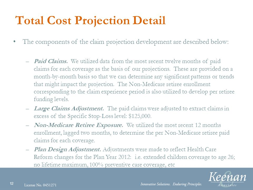 12 Total Cost Projection Detail The components of the claim projection development are described below: –Paid Claims.