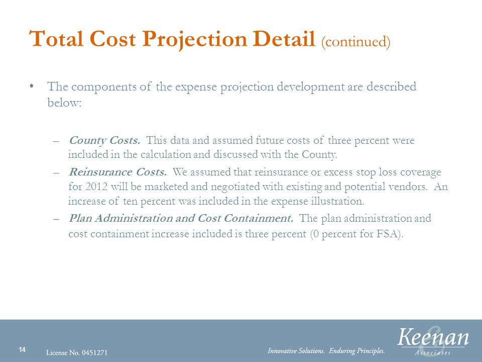 14 Total Cost Projection Detail (continued) The components of the expense projection development are described below: –County Costs.