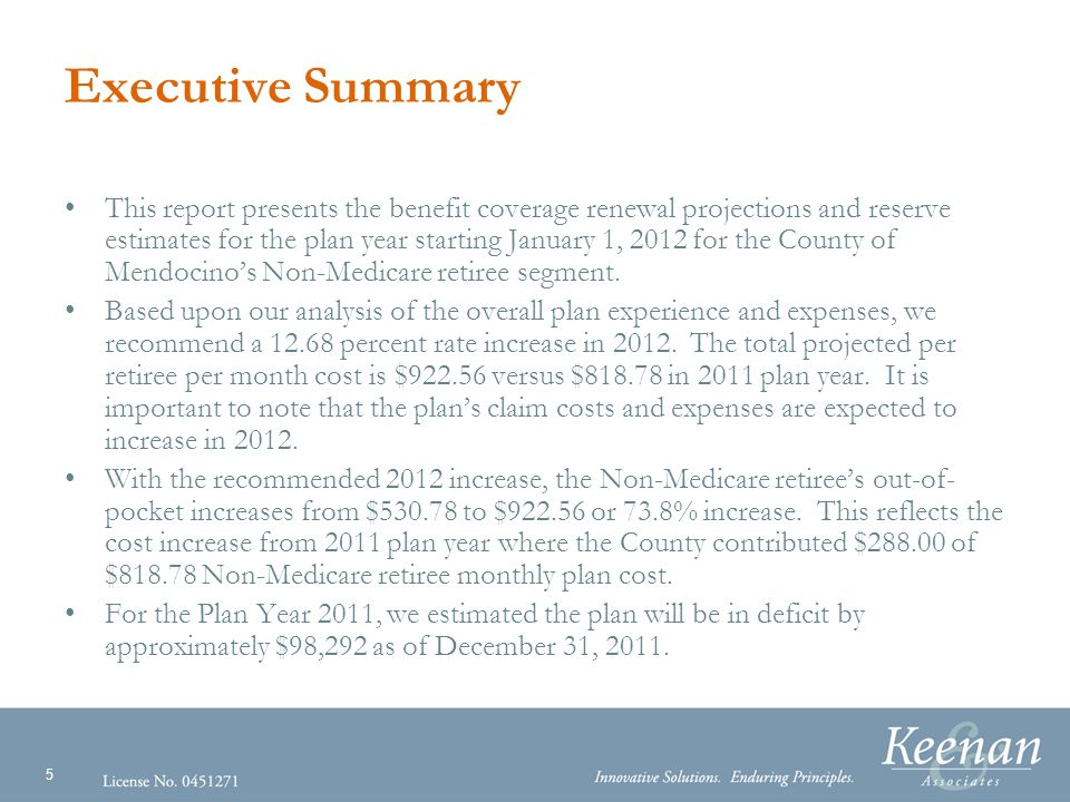 16 Total Cost Projection Detail (continued) The projected Total Non-Medicare Retiree Cost is determined using the various components of claims and expenses.