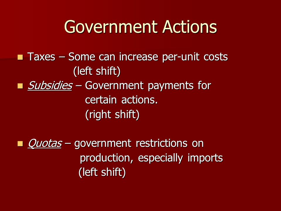 Government Actions Taxes – Some can increase per-unit costs Taxes – Some can increase per-unit costs (left shift) Subsidies – Government payments for