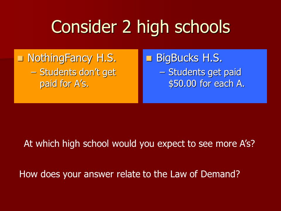 Consider 2 high schools NothingFancy H.S. NothingFancy H.S. –Students don't get paid for A's. BigBucks H.S. BigBucks H.S. –Students get paid $50.00 fo