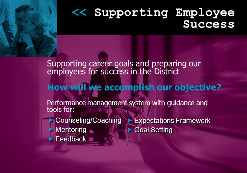 << Supporting Employee Success Supporting career goals and preparing our employees for success in the District How will we accomplish our objective? P