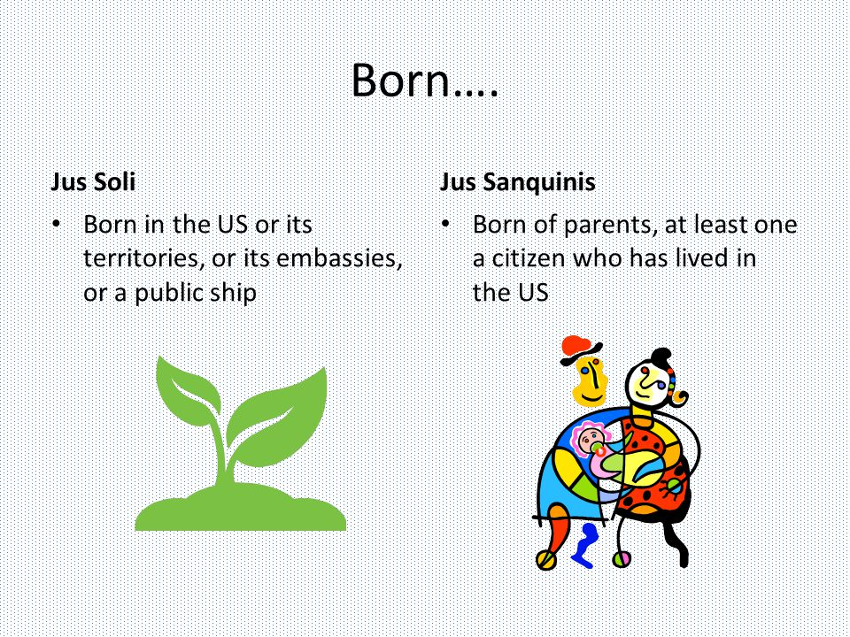 Born…. Jus Soli Born in the US or its territories, or its embassies, or a public ship Jus Sanquinis Born of parents, at least one a citizen who has li