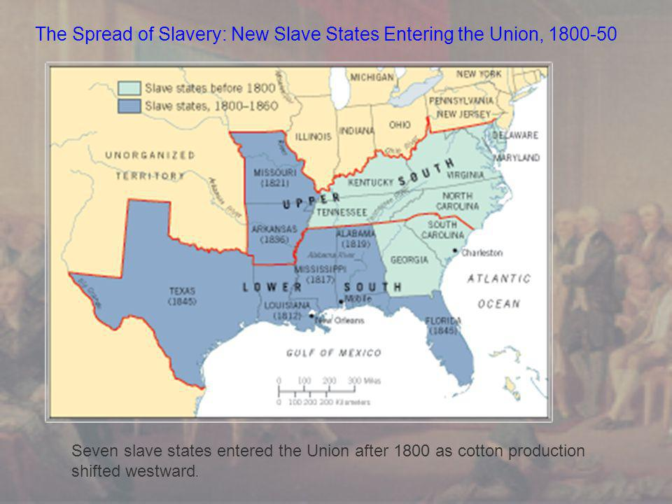 The Spread of Slavery: New Slave States Entering the Union, 1800-50 Seven slave states entered the Union after 1800 as cotton production shifted westward.
