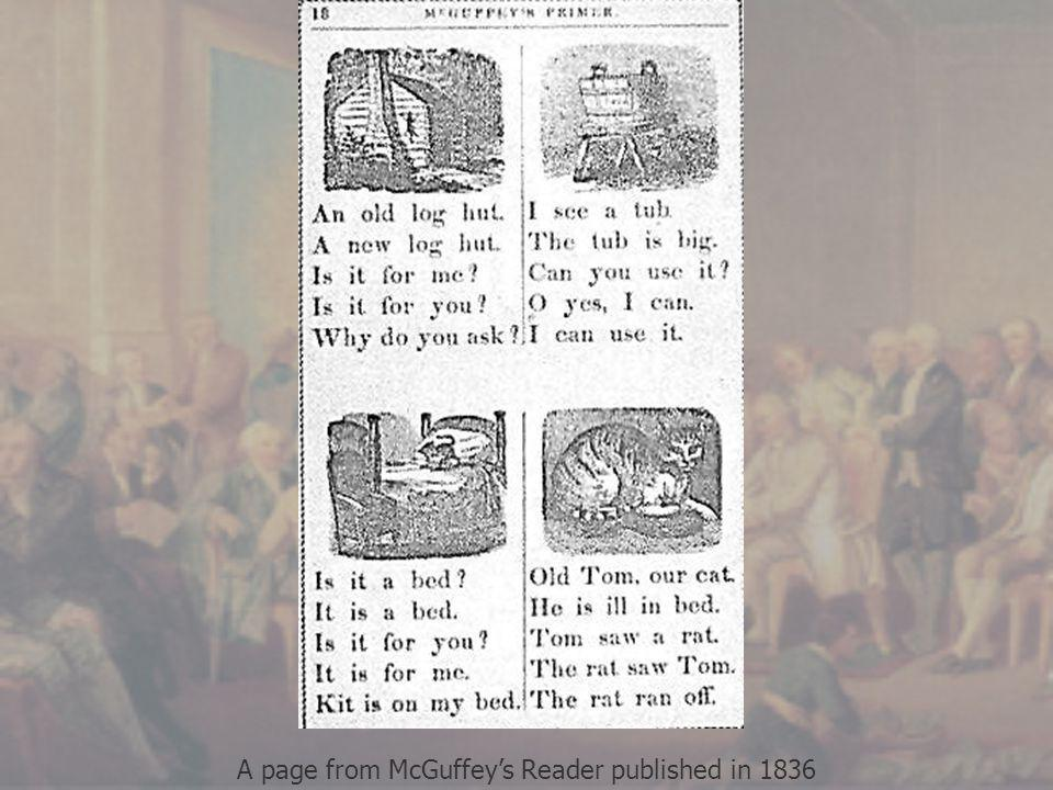 A page from McGuffey's Reader published in 1836