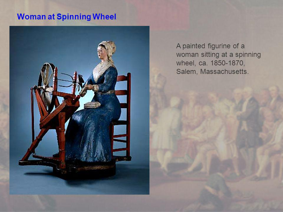 Woman at Spinning Wheel A painted figurine of a woman sitting at a spinning wheel, ca.