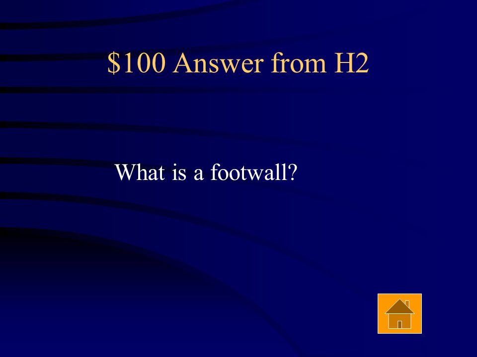 $100 Question from H2 The part of the fault that lies below the other part is called the _____ wall. Answer