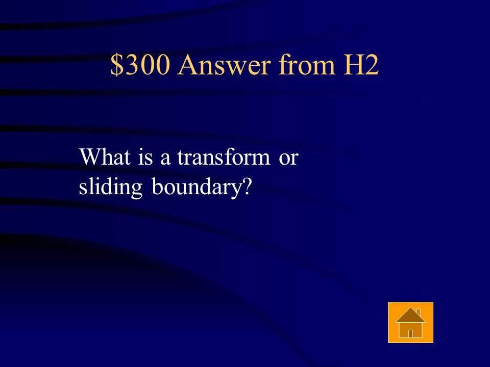 $300 Question from H2 A strike-slip fault is associated with this type of boundary. Answer