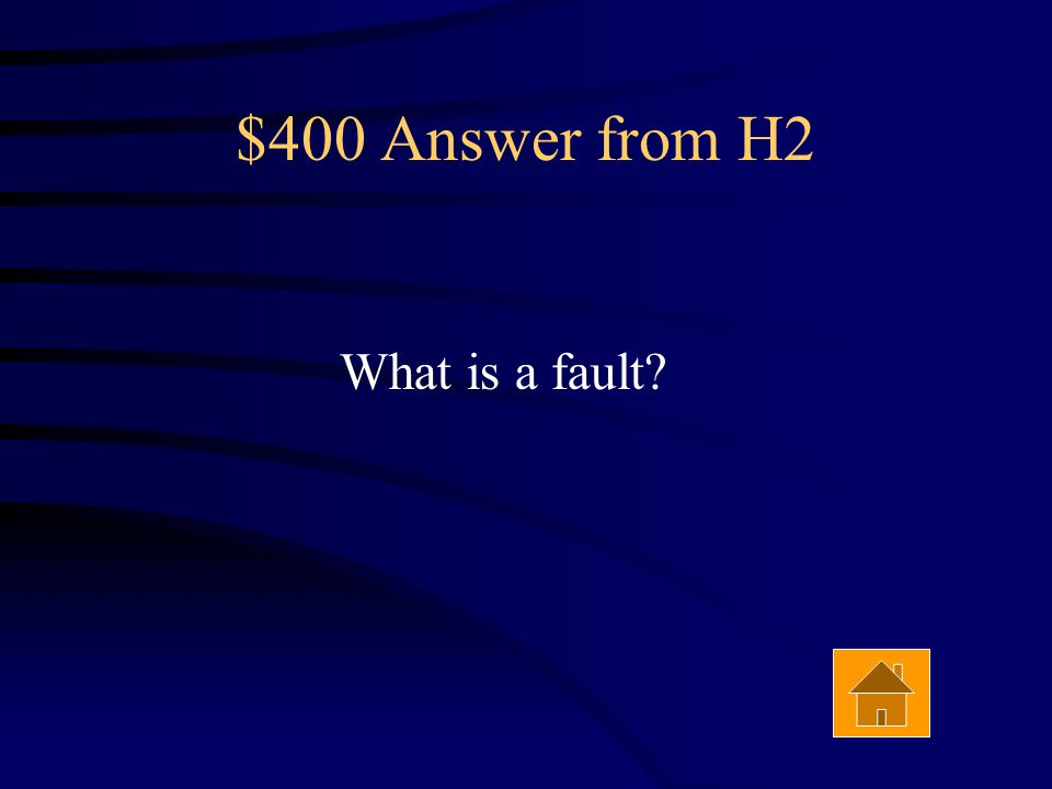 $400 Question from H2 An extended break in the earth's crust marked by displacement and discontinuity of rock strata. Answer