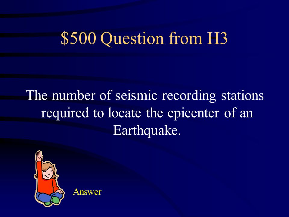 $400 Answer from H3 What is the epicenter?