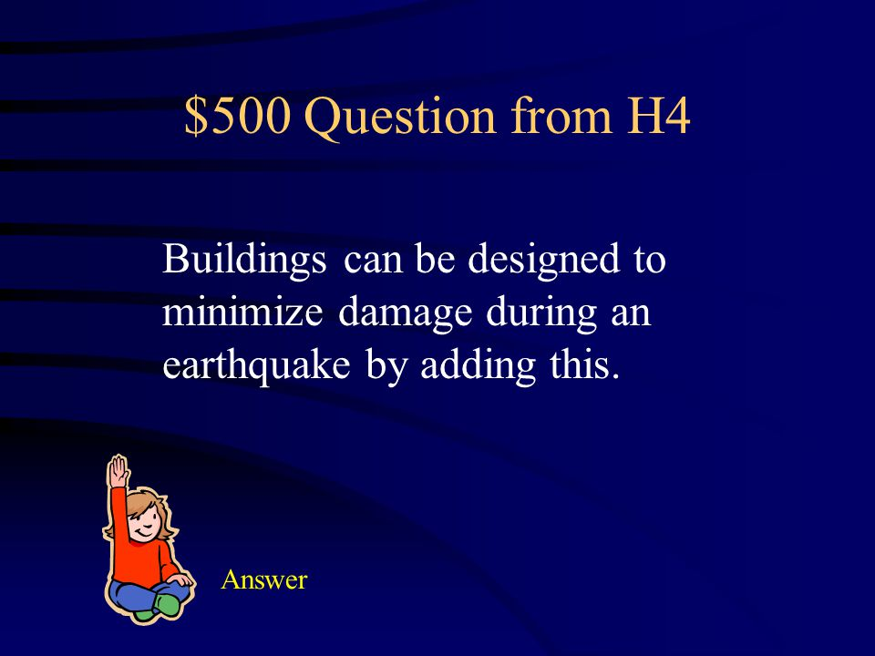 $400 Answer from H4 Have a preparedness kit Have and practice an escape route Secure tall heavy furniture Install latches on upper cabinets Have a mee