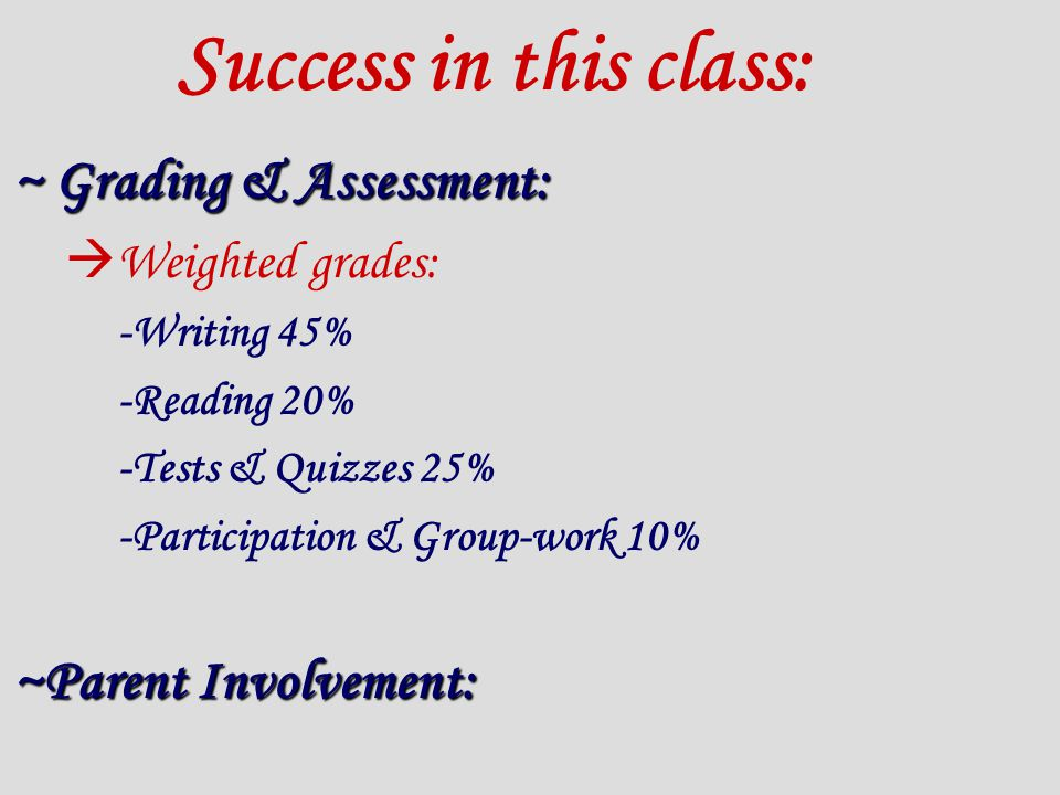 Success in this class: ~ Grading & Assessment:  Weighted grades: -Writing 45% -Reading 20% -Tests & Quizzes 25% -Participation & Group-work 10% ~Parent Involvement:
