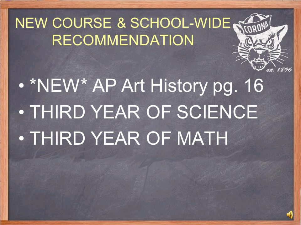 NEW COURSE & SCHOOL-WIDE RECOMMENDATION *NEW* AP Art History pg.