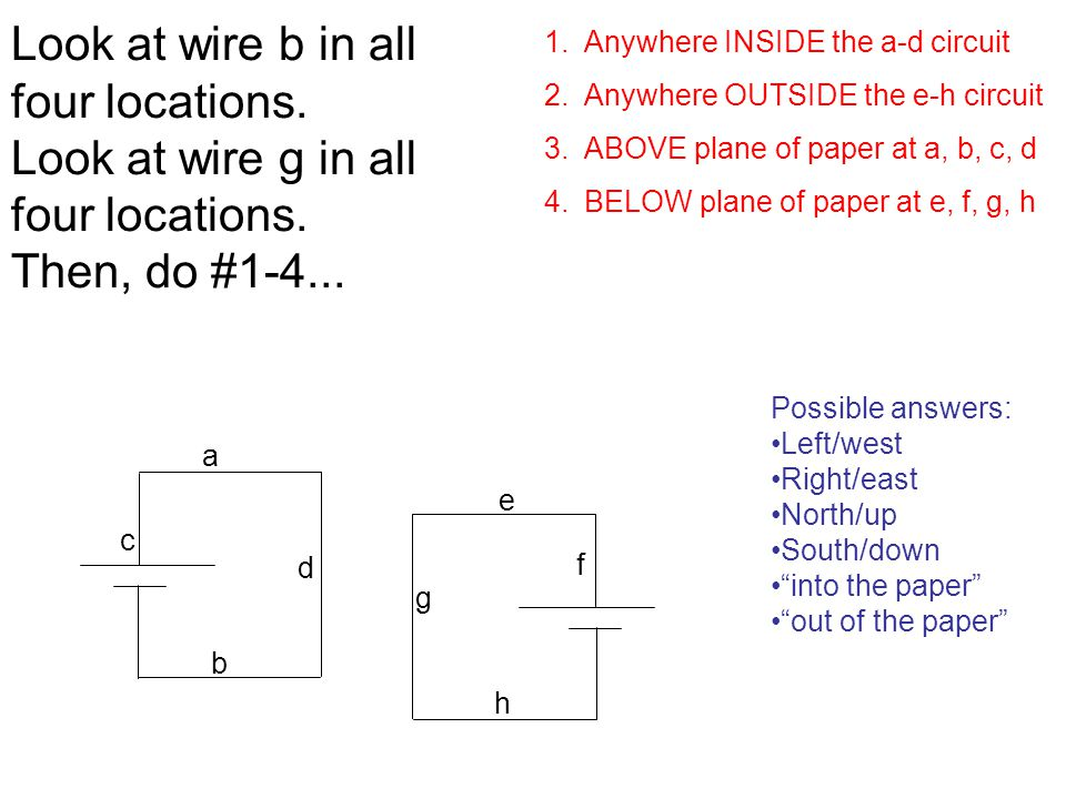 Look at wire b in all four locations. Look at wire g in all four locations.