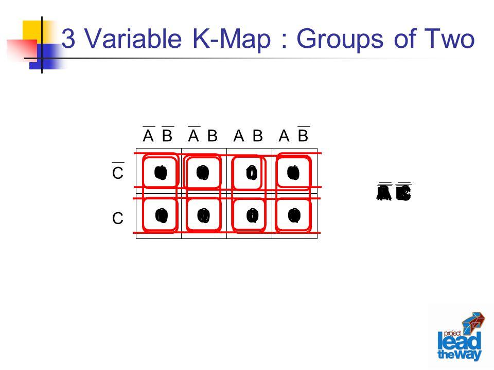3 Variable K-Map : Groups of Two C C A B 1 0 1 0 0 0 0 0 A C 0 1 0 1 0 0 0 0 0 0 0 0 1 0 1 0 0 0 0 0 0 1 0 1 0 0 1 0 1 0 0 0 B C 0 0 0 1 0 1 0 0 1 0 0 0 0 0 1 0 0 1 0 0 0 0 0 1 1 1 0 0 0 0 0 0 A B 0 0 1 1 0 0 0 0 0 0 0 0 1 1 0 0 0 0 0 0 0 0 1 1