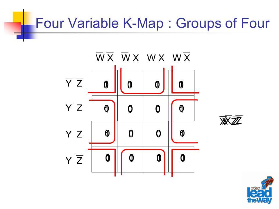Four Variable K-Map : Groups of Four W X Y Z 1 0 0 0 0 0 1 0 0 1 0 0 0 0 0 1 X Z 0 0 0 1 0 1 0 0 0 0 1 0 1 0 0 0 0 1 0 0 0 0 0 1 1 0 0 0 0 0 1 0