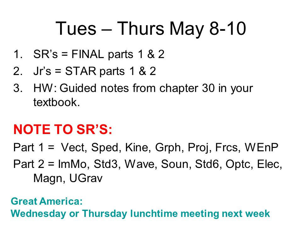 Tues – Thurs May 8-10 1.SR's = FINAL parts 1 & 2 2.Jr's = STAR parts 1 & 2 3.HW: Guided notes from chapter 30 in your textbook. NOTE TO SR'S: Part 1 =