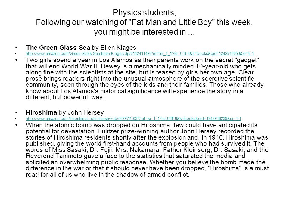 Physics students, Following our watching of