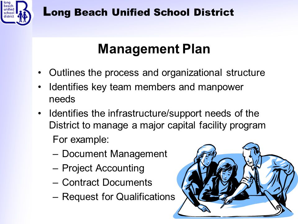 L ong Beach Unified School District Management Plan Outlines the process and organizational structure Identifies key team members and manpower needs Identifies the infrastructure/support needs of the District to manage a major capital facility program For example: –Document Management –Project Accounting –Contract Documents –Request for Qualifications