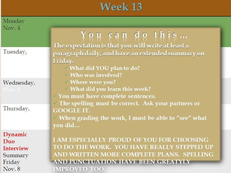 Week 13 Week 13 Monday Nov. 4 Tuesday, Nov. 5 Wednesday, Nov.