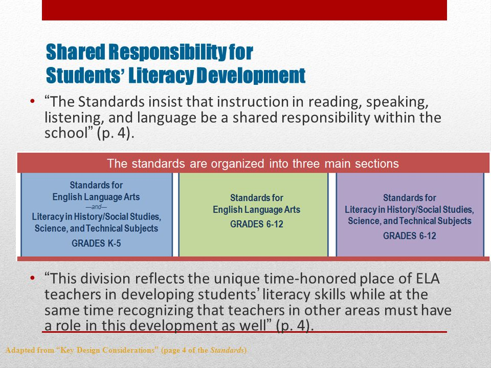 Shared Responsibility for Students' Literacy Development The Standards insist that instruction in reading, speaking, listening, and language be a shared responsibility within the school (p.