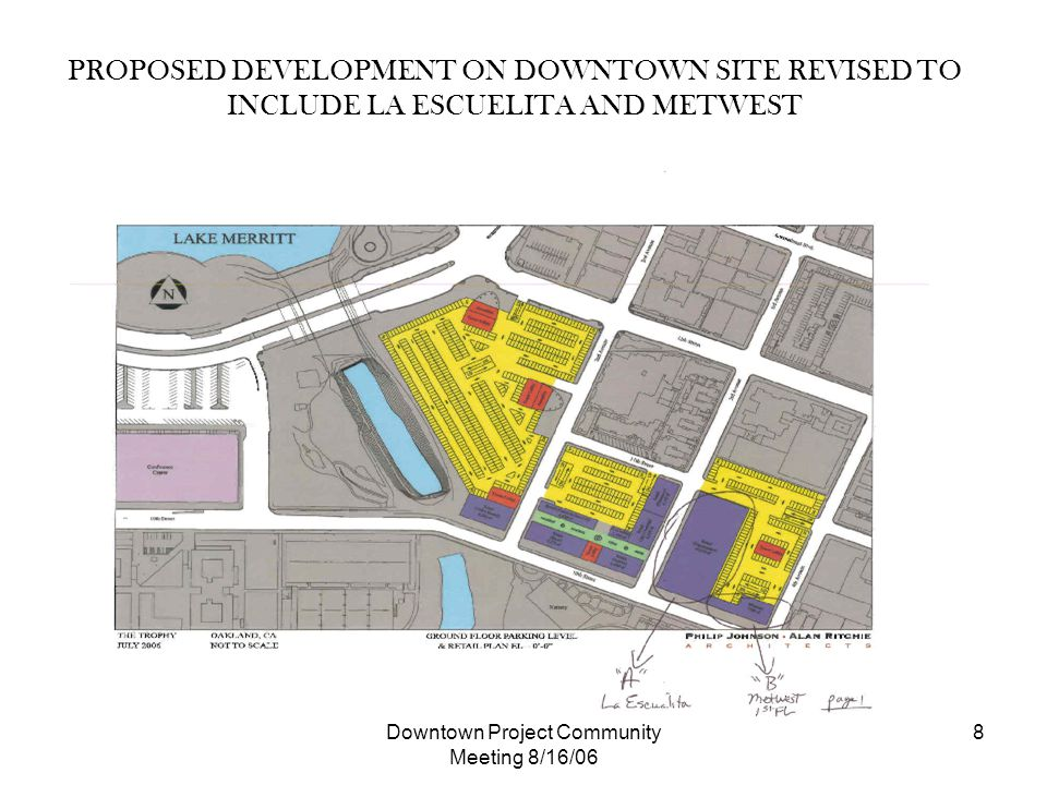 Downtown Project Community Meeting 8/16/06 8 PROPOSED DEVELOPMENT ON DOWNTOWN SITE REVISED TO INCLUDE LA ESCUELITA AND METWEST