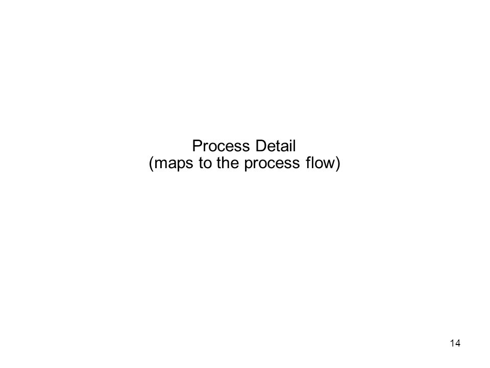 14 Process Detail (maps to the process flow)