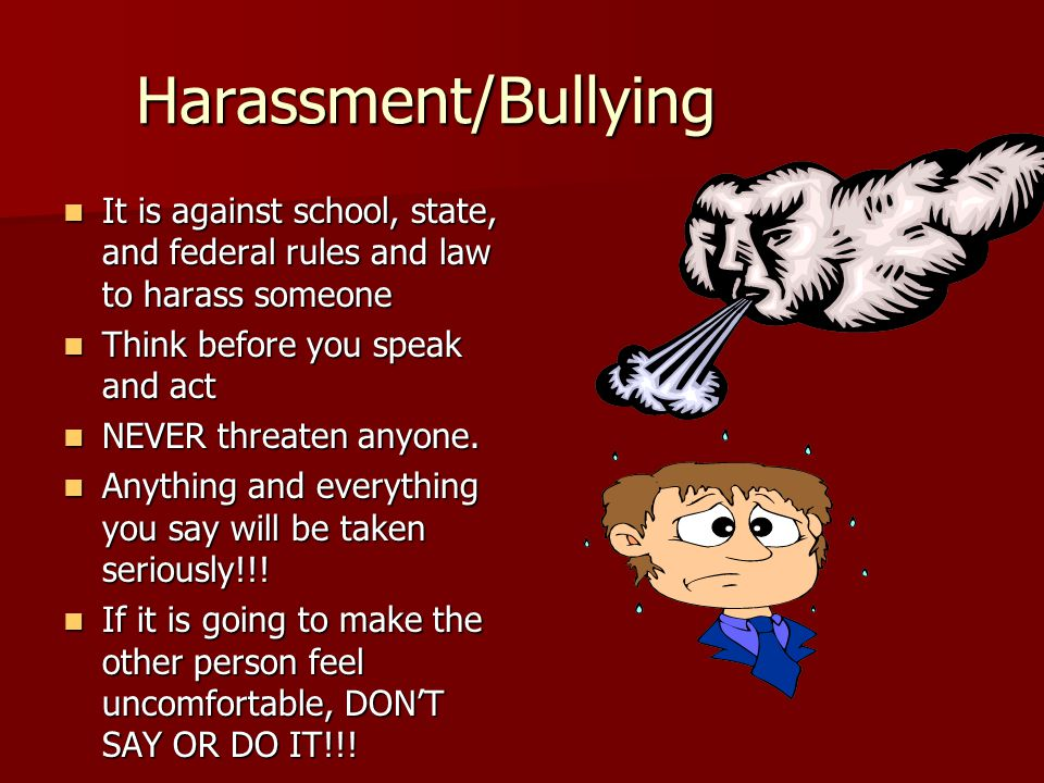 Harassment/Bullying It is against school, state, and federal rules and law to harass someone It is against school, state, and federal rules and law to