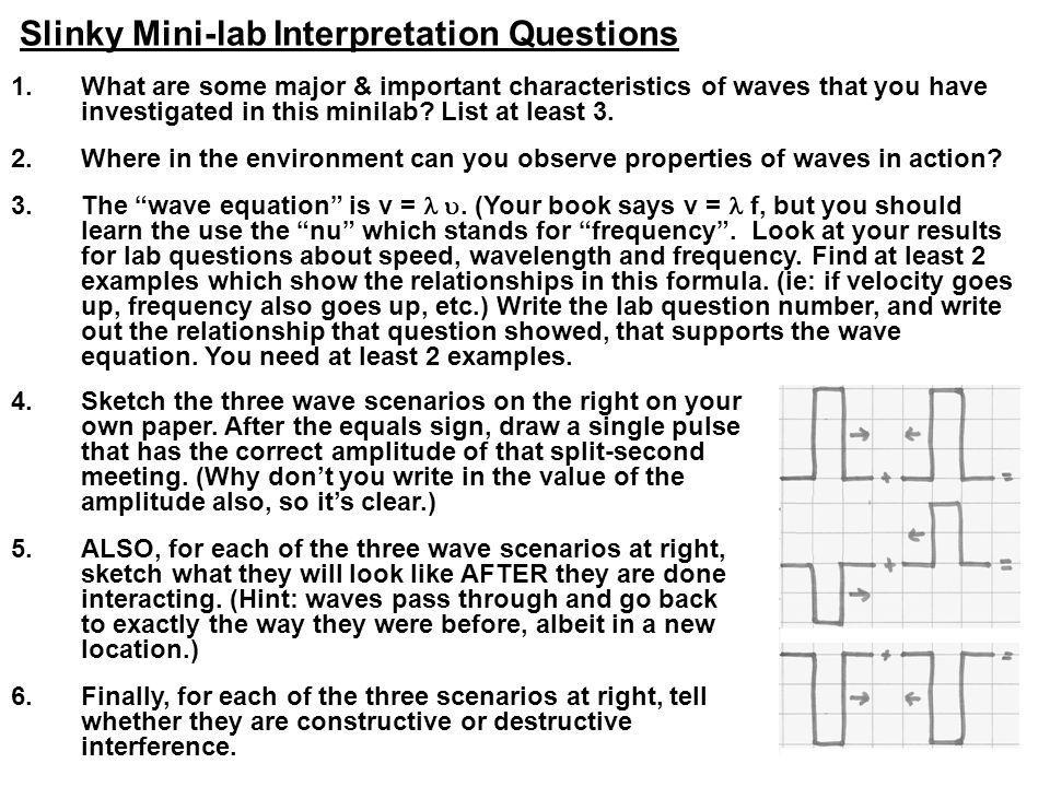 Slinky Mini-lab Interpretation Questions 1.What are some major & important characteristics of waves that you have investigated in this minilab? List a