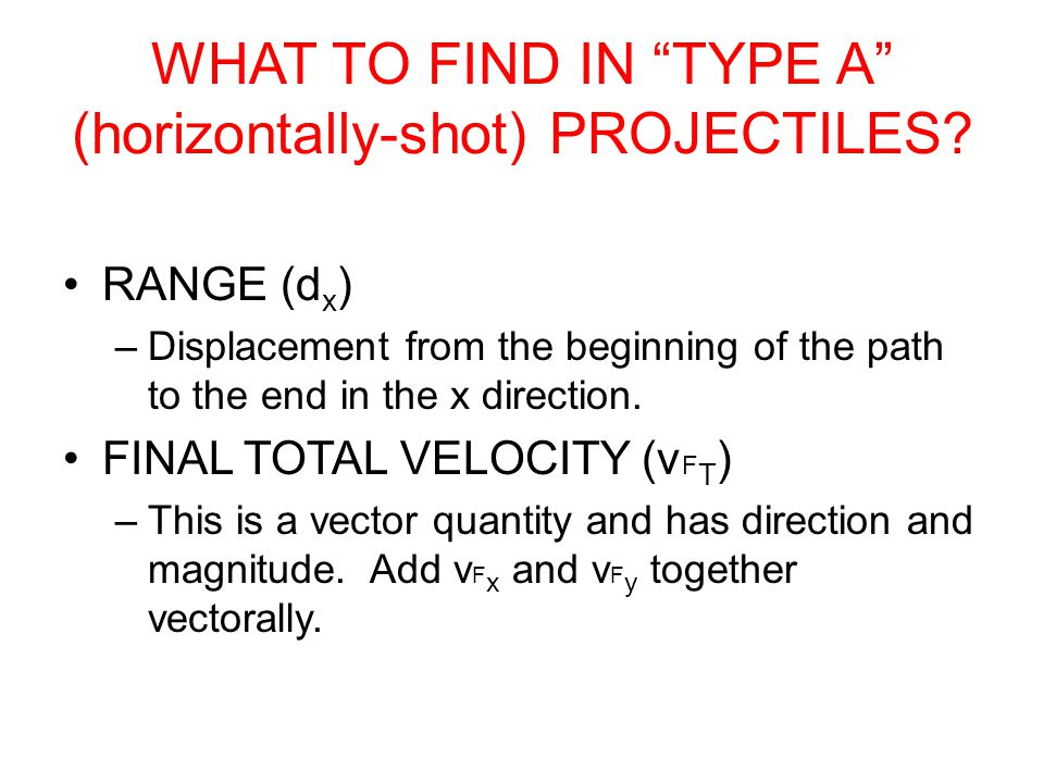 YOU MUST MAKE TWO LISTS: VARIABLES IN THE X&Y DIRECTIONS xy v o x = (given) v o y = (if shot horiz./type A) v F x = .