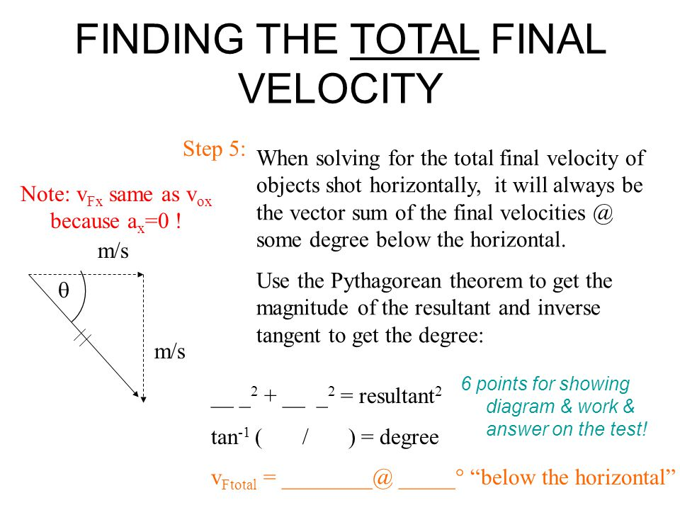 When solving for the total final velocity of objects shot horizontally, it will always be the vector sum of the final velocities @ some degree below t