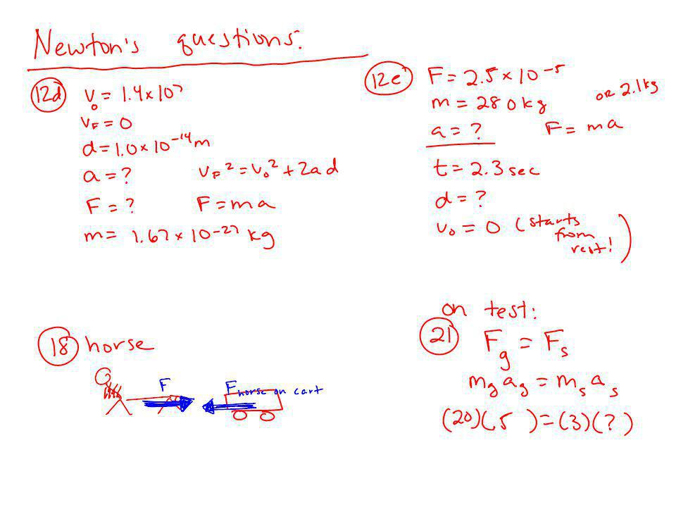 Newton's 1 st Law on the test: What is it? Examples/demos/etc Newton's 2 nd Law on the test: What is it? Pennies experiment (18 points – see study gui