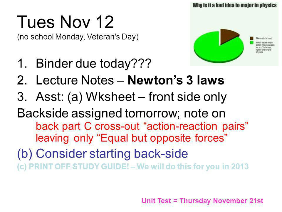 2014 Possible additional asst: SKIP 2013 find a website with a video clip and/or a demo for EACH of Newton's 3 laws (in English!); email me the URLS o