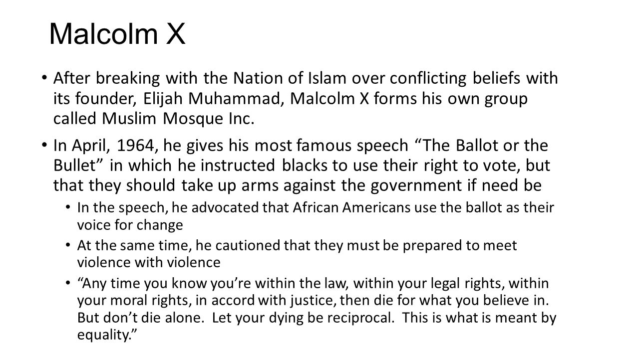 After breaking with the Nation of Islam over conflicting beliefs with its founder, Elijah Muhammad, Malcolm X forms his own group called Muslim Mosque