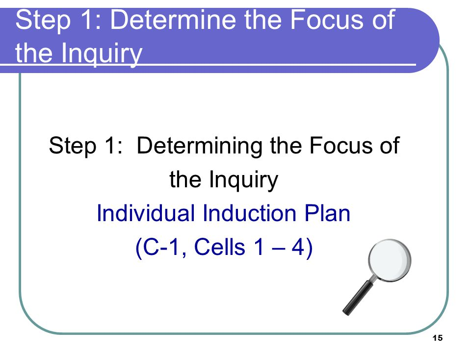 15 Step 1: Determine the Focus of the Inquiry Step 1: Determining the Focus of the Inquiry Individual Induction Plan (C-1, Cells 1 – 4)