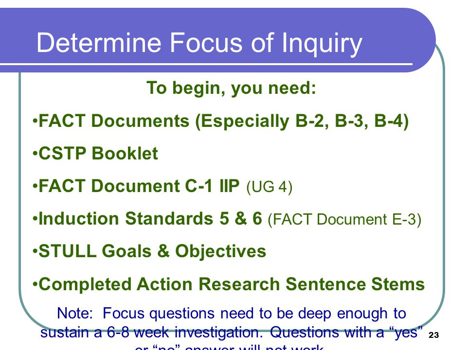 23 Determine Focus of Inquiry To begin, you need: FACT Documents (Especially B-2, B-3, B-4) CSTP Booklet FACT Document C-1 IIP (UG 4) Induction Standards 5 & 6 (FACT Document E-3) STULL Goals & Objectives Completed Action Research Sentence Stems Note: Focus questions need to be deep enough to sustain a 6-8 week investigation.