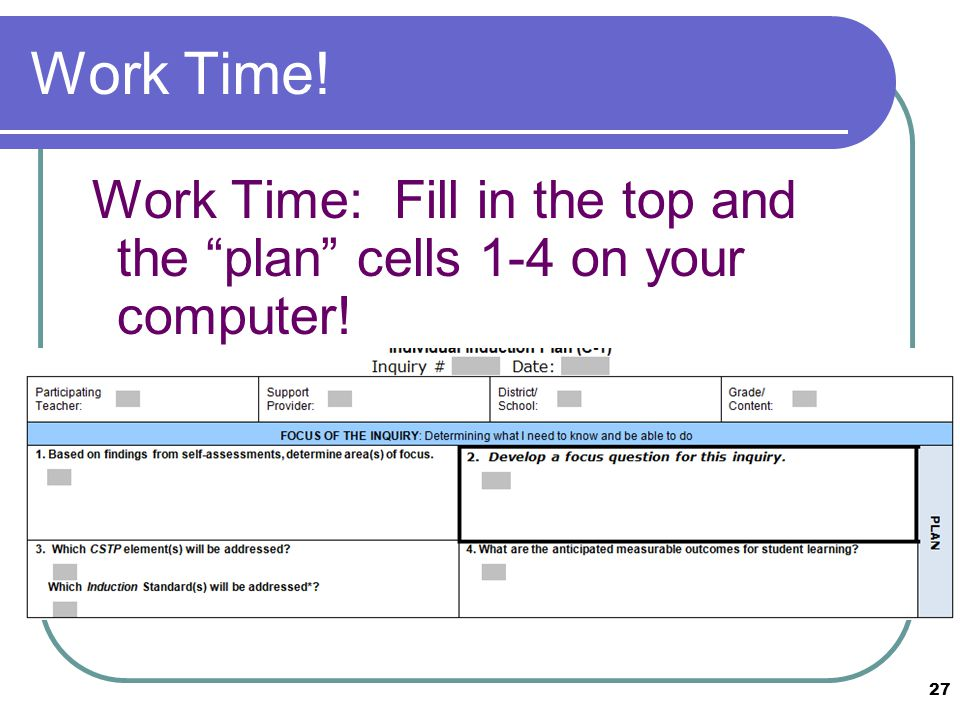 Work Time! Work Time: Fill in the top and the plan cells 1-4 on your computer! 27