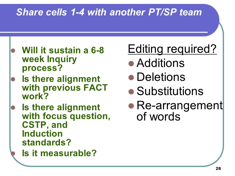 28 Share cells 1-4 with another PT/SP team Will it sustain a 6-8 week Inquiry process.