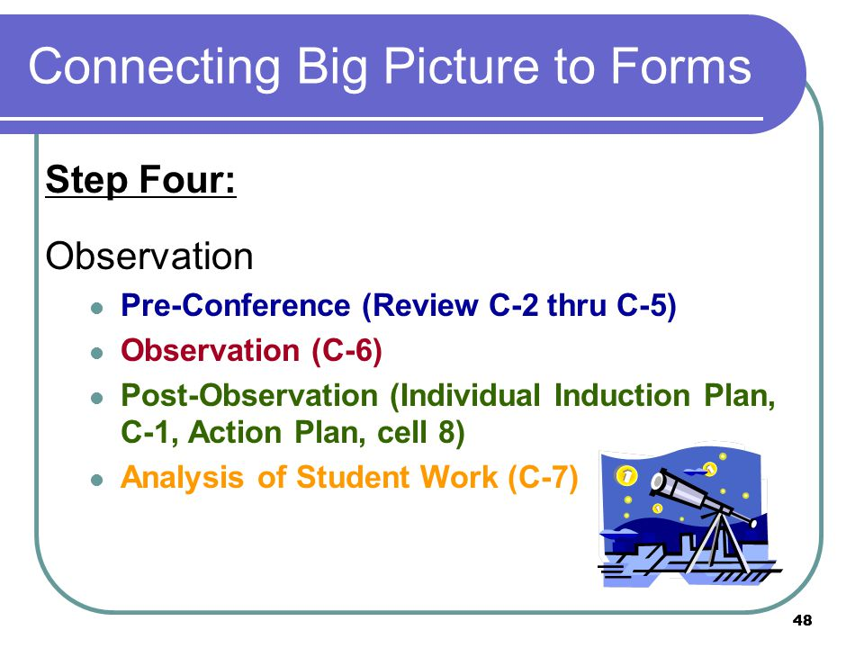 48 Connecting Big Picture to Forms Step Four: Observation Pre-Conference (Review C-2 thru C-5) Observation (C-6) Post-Observation (Individual Induction Plan, C-1, Action Plan, cell 8) Analysis of Student Work (C-7)