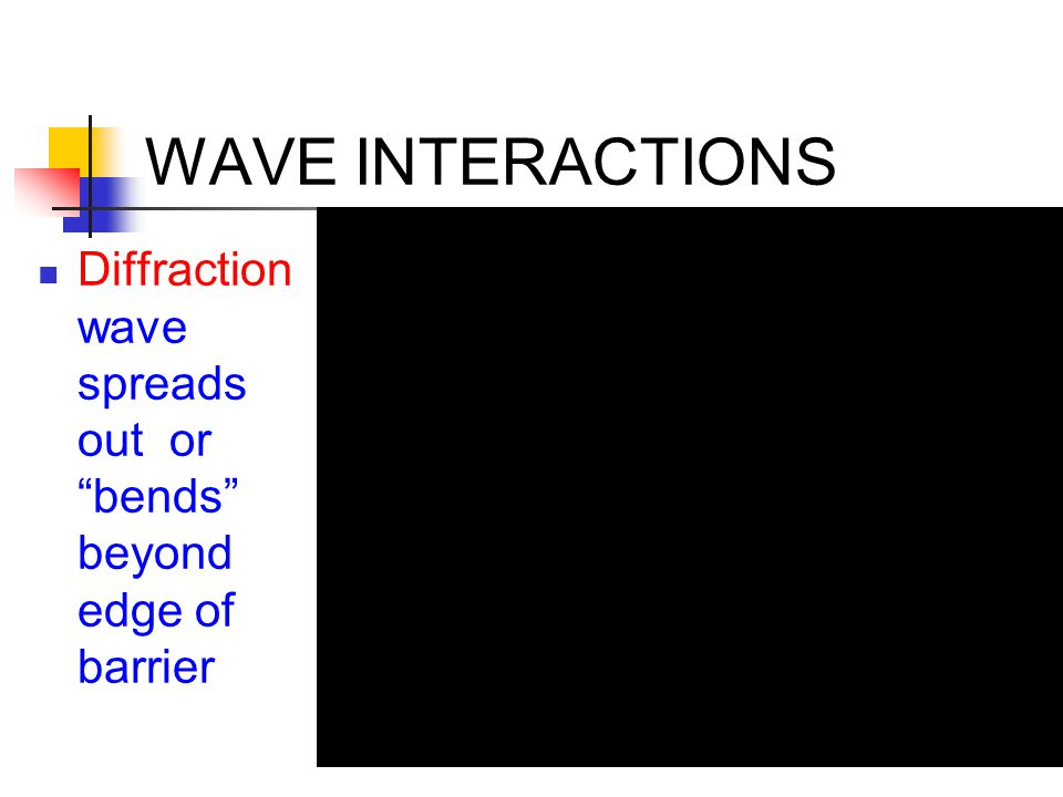 """WAVE INTERACTIONS Diffraction wave spreads out or """"bends"""" beyond edge of barrier"""